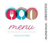 abstract restaurant menu card... | Shutterstock .eps vector #1080292553