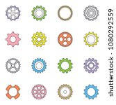 thin line vector cog wheels and ... | Shutterstock .eps vector #1080292559