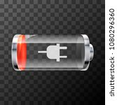 low level bright glossy battery ... | Shutterstock .eps vector #1080296360
