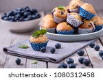 blueberry muffins  healthy... | Shutterstock . vector #1080312458