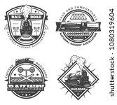 vintage monochrome retro train... | Shutterstock .eps vector #1080319604