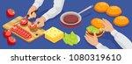 isometric hamburger making... | Shutterstock .eps vector #1080319610