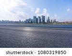 empty asphalt road with... | Shutterstock . vector #1080319850