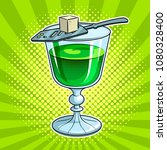 absinthe green alcohol narcotic ... | Shutterstock . vector #1080328400