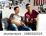 teenage boys hanging out in a... | Shutterstock . vector #1080332519