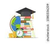 stack of books  graduation cap  ... | Shutterstock .eps vector #1080336209