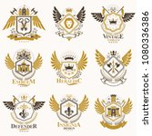 collection of vector heraldic... | Shutterstock .eps vector #1080336386