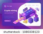 bitcoin cryptomining farm... | Shutterstock .eps vector #1080338123