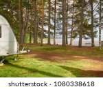 camping caravan on a campground ... | Shutterstock . vector #1080338618
