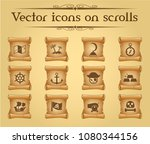 pirates simple vector icons on... | Shutterstock .eps vector #1080344156
