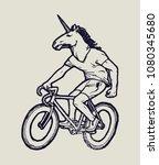 unicorn bicycle rider   unicorn ... | Shutterstock .eps vector #1080345680