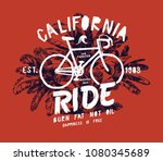 california bicycle ride   fixie ... | Shutterstock .eps vector #1080345689