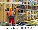 construction worker in wooden... | Shutterstock . vector #108035558