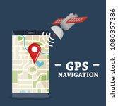 smartphone with gps navigation... | Shutterstock .eps vector #1080357386