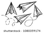 set of paper planes. hand drawn ... | Shutterstock .eps vector #1080359174
