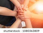 children students hands... | Shutterstock . vector #1080363809
