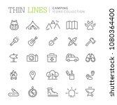 collection of camping thin line ... | Shutterstock .eps vector #1080364400