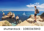 young woman traveler looking at ... | Shutterstock . vector #1080365843