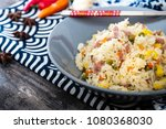 cantonese fried basmati rice... | Shutterstock . vector #1080368030