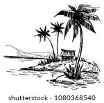 tropical landscape with palm... | Shutterstock .eps vector #1080368540