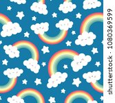 cute cloud background with... | Shutterstock .eps vector #1080369599