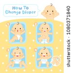 steps to change diaper | Shutterstock .eps vector #1080371840
