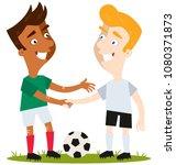 two friendly cartoon soccer... | Shutterstock .eps vector #1080371873