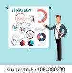 speaker businessman shows... | Shutterstock .eps vector #1080380300