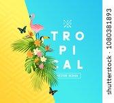 tropical rainforest summer... | Shutterstock .eps vector #1080381893