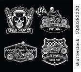chopper set black white | Shutterstock .eps vector #1080382220