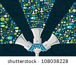 three megaphones throwing... | Shutterstock .eps vector #108038228