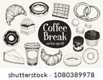 coffee break. dessert set.... | Shutterstock .eps vector #1080389978