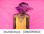 girl shaking her pink braided... | Shutterstock . vector #1080390833