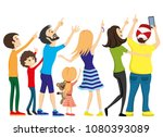group of people looking up and... | Shutterstock .eps vector #1080393089