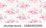 cute seamless floral pattern.... | Shutterstock .eps vector #1080403340