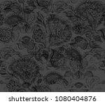 paisley watercolor ethnic... | Shutterstock . vector #1080404876