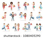 people shopping set with bags... | Shutterstock .eps vector #1080405290
