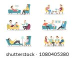 psychologists with patients set ... | Shutterstock .eps vector #1080405380