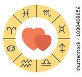 flat icon of a zodiac wheel... | Shutterstock .eps vector #1080408656