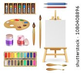artistic tools and art supplies ... | Shutterstock .eps vector #1080408896