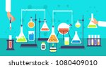 chemical equipment in chemistry ... | Shutterstock .eps vector #1080409010