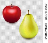 fresh red apple and pear... | Shutterstock .eps vector #1080411059