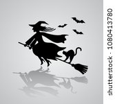 the old witch flies on a... | Shutterstock .eps vector #1080413780