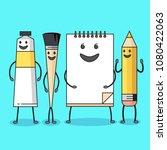 art supplies characters. flat...   Shutterstock .eps vector #1080422063
