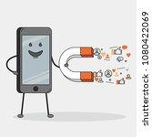 smarthone character holding...   Shutterstock .eps vector #1080422069