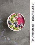 smoothie bowl with fresh... | Shutterstock . vector #1080431558