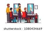 two bearded hairdresser barbers ... | Shutterstock .eps vector #1080434669