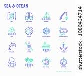 sea and ocean journey thin line ... | Shutterstock .eps vector #1080434714