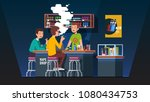 modern vape shop bar barman... | Shutterstock .eps vector #1080434753