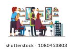 two women hairdresser work... | Shutterstock .eps vector #1080453803